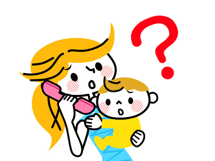 赤ちゃんを抱っこしつつ電話してるママのイラスト