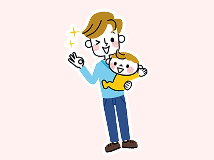 赤ちゃんの世話をする男性のイラスト