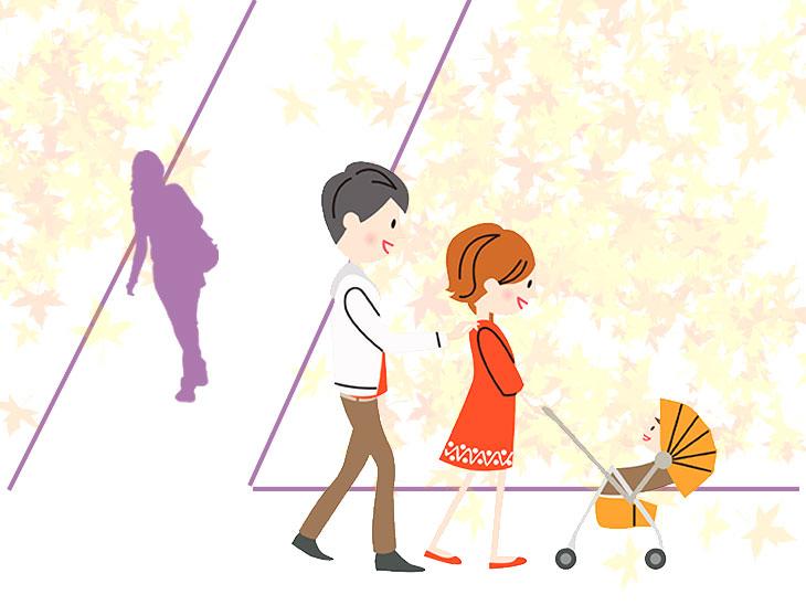赤ちゃん連れの家族を見かける人のイラスト
