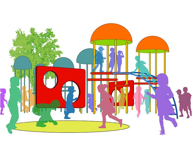 遊具で遊ぶ子供のイラスト