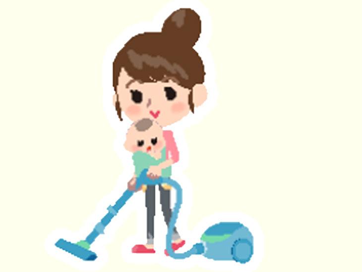 赤ちゃんを抱っこしながら掃除機をかける母親のイラスト