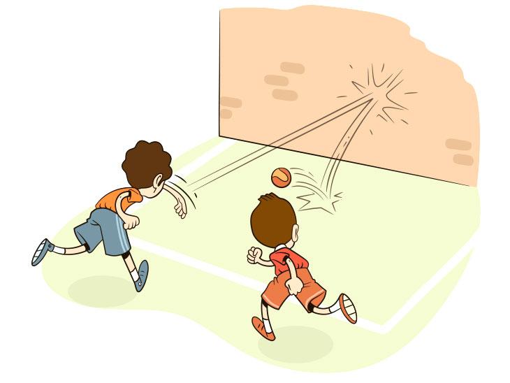 ボールで遊ぶ子供のイラスト