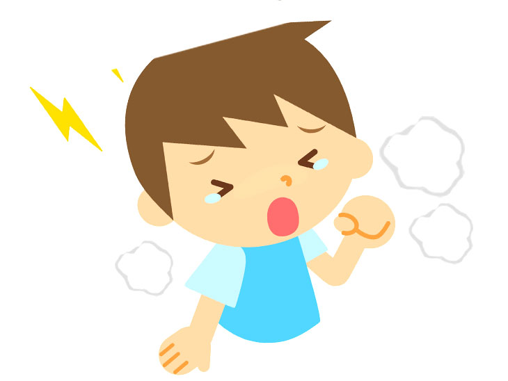 苦しそうに息をしてる男の子のイラスト