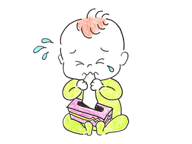 ティッシュを口に入れて苦しそうにしてる赤ちゃんのイラスト