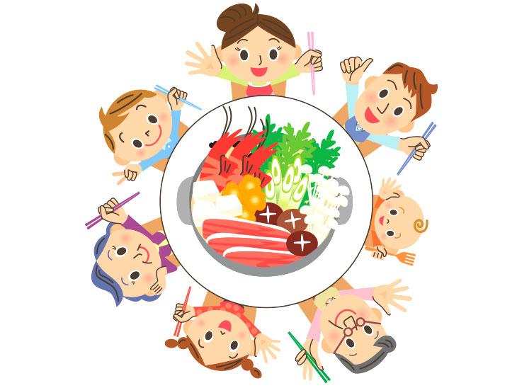 家族団らんの食事のイラスト