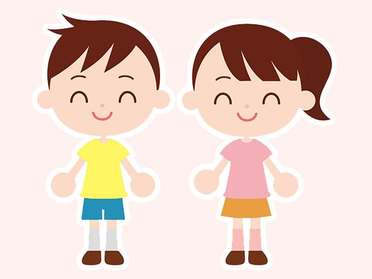 洋服が色分けした子供のイラスト