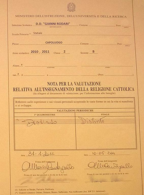 イタリアの小学校の成績表