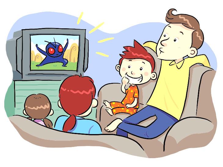 テレビ放送を見る家族のイラスト