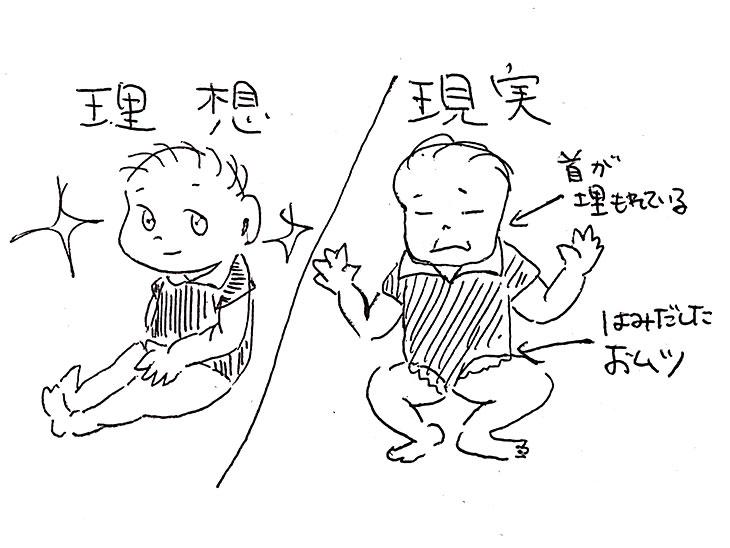 理想と現実の赤ちゃんのイラスト