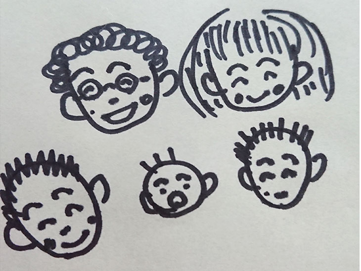 笑っている家族のイラスト