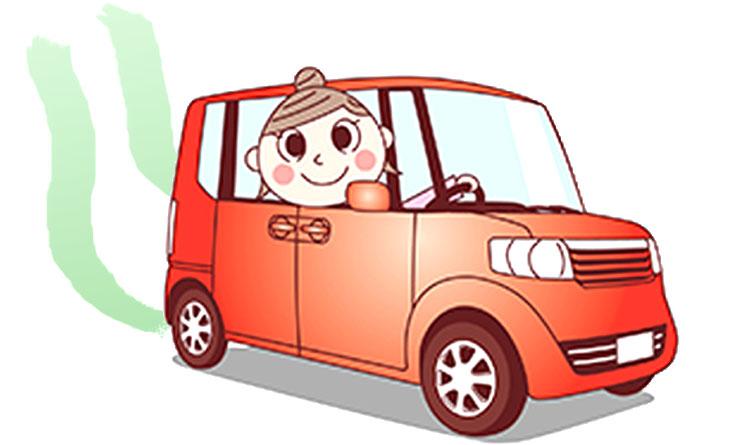車を運転している女性のイラスト