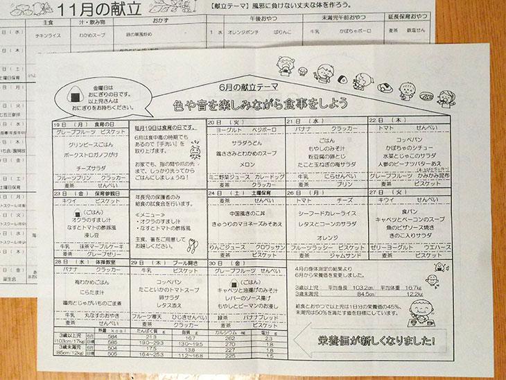 保育園給食の献立表
