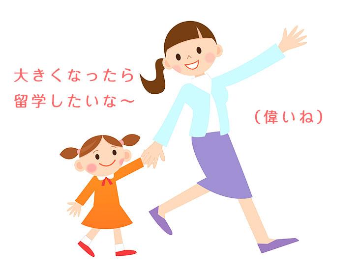 話ながら歩く親子のイラスト
