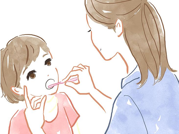 子供に仕上げ歯磨きをしてあげる母親のイラスト