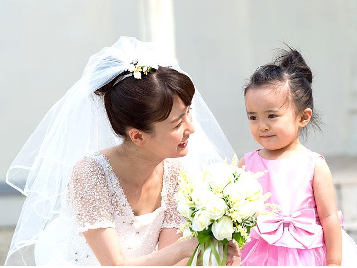 結婚式で母親と娘