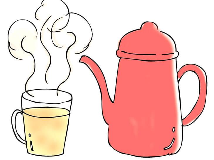 温かい飲み物とポット