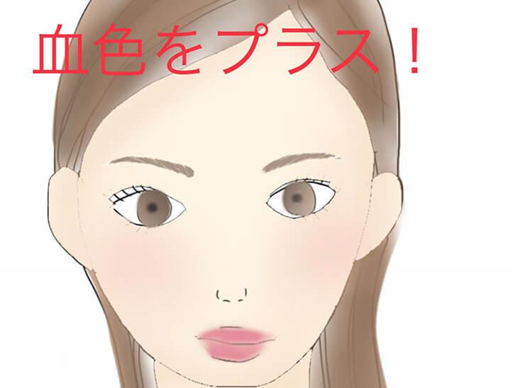 頬と唇をピンクにした顔のイラスト