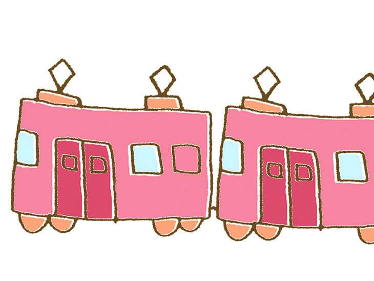 マタニティマークが役立つ電車のイラスト