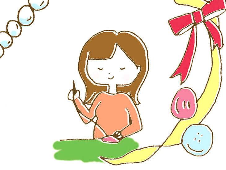マタニティマークをアレンジする妊婦のイラスト