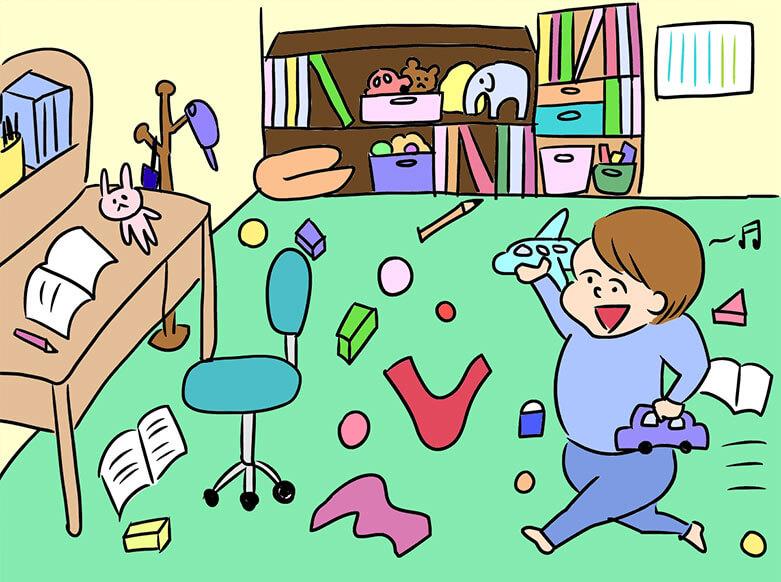 おもちゃが散らかっている子供部屋のイラスト