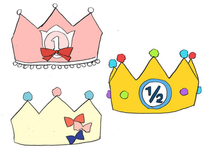フェルトの王冠のアレンジデザイン