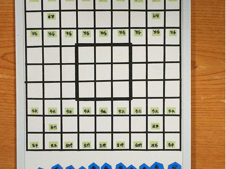 9マスを強調した手作り将棋盤