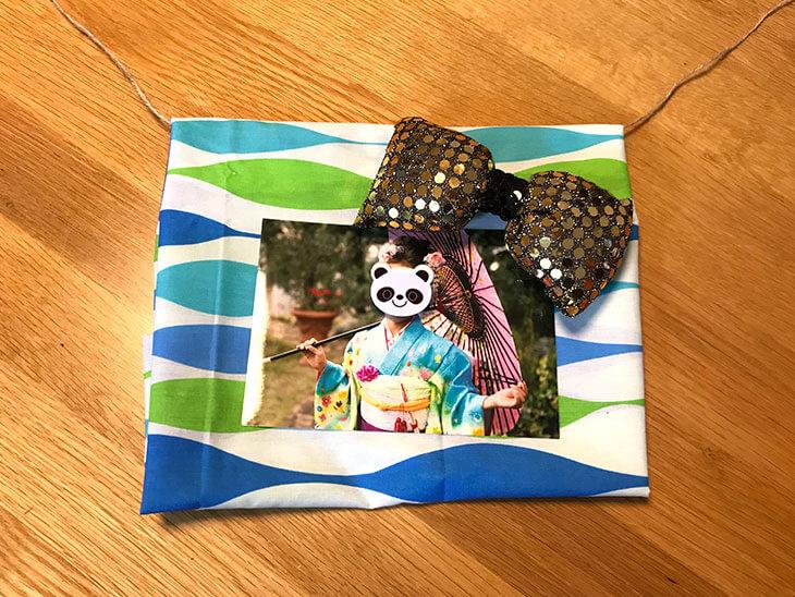 子供の写真とパンダモチーフ