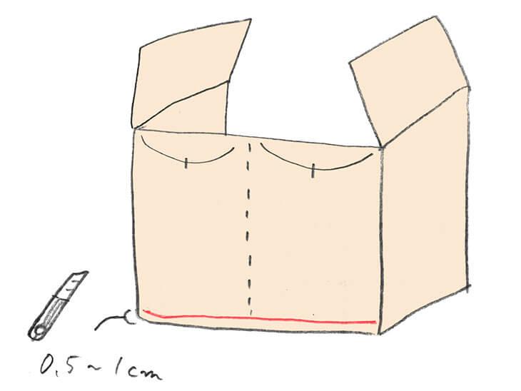 後ろ面に切れ込みと折り筋を入れる様子のイラスト
