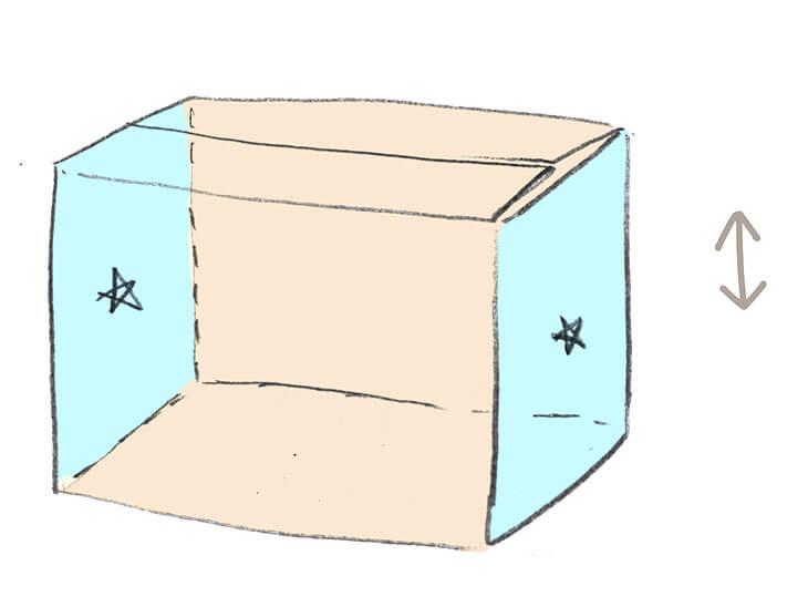 屋根用段ボールの切り出し方のイラスト