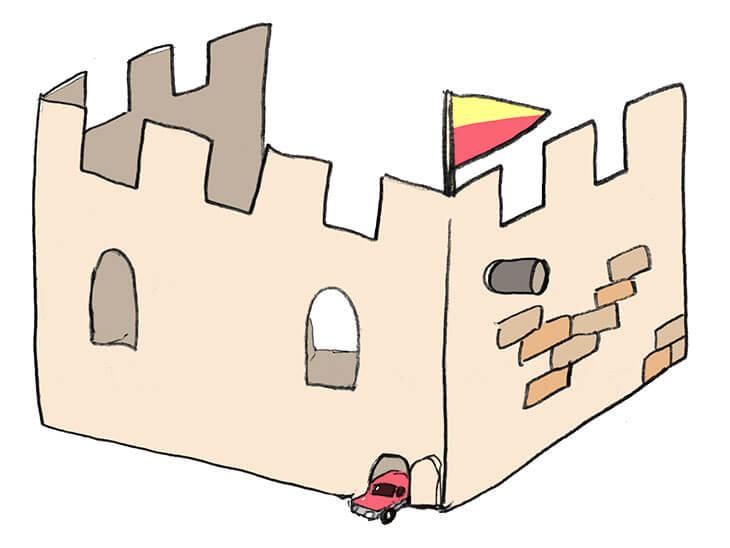 お城のダンボールハウスのイラスト