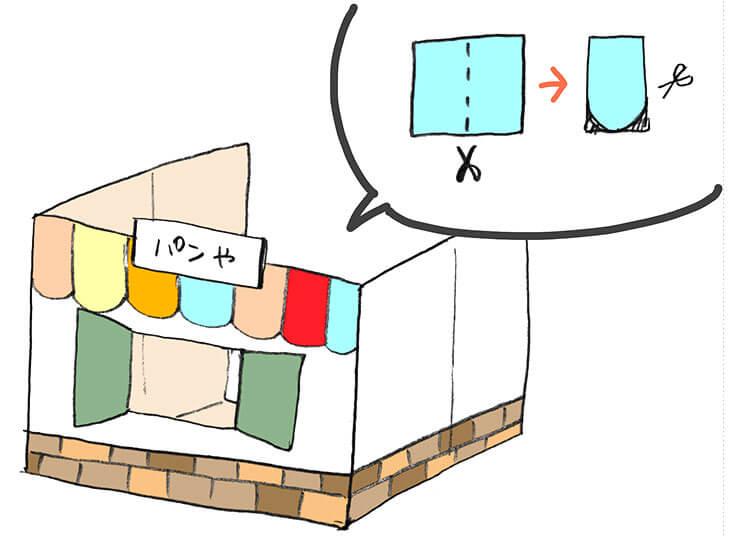 パン屋の段ボールハウスと飾り方のイラスト