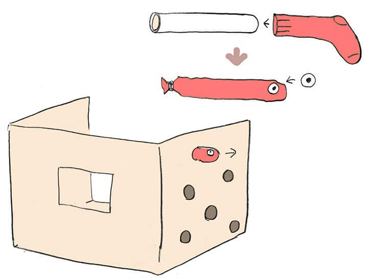 もぐらたたき風ダンボールハウスとモグラの作り方の図解
