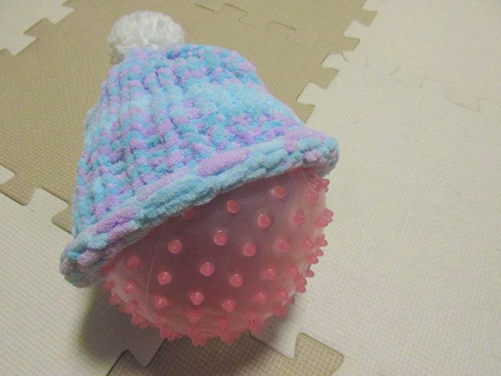 リリアン編みのニット帽