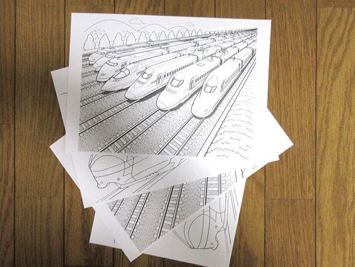 印刷した新幹線の無料塗り絵
