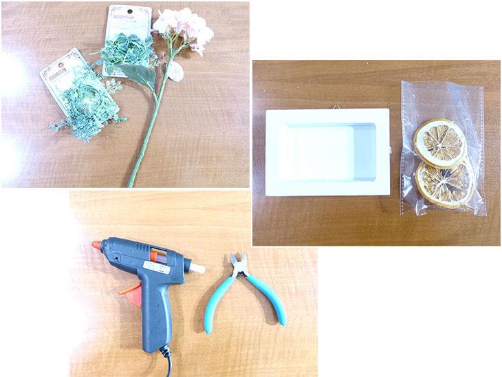 100均造花の壁かけボックスフラワーの材料と道具