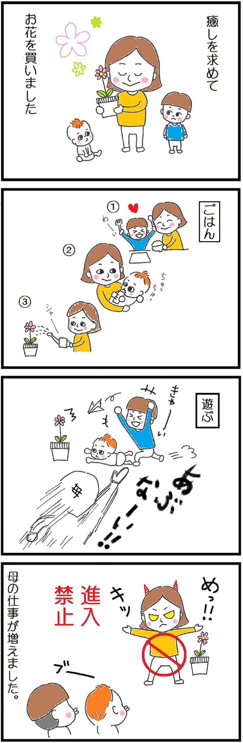花購入の子育て4コマ漫画