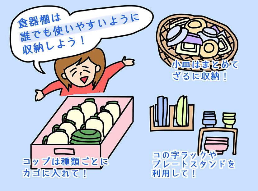 食器棚の収納アイディアのイラスト