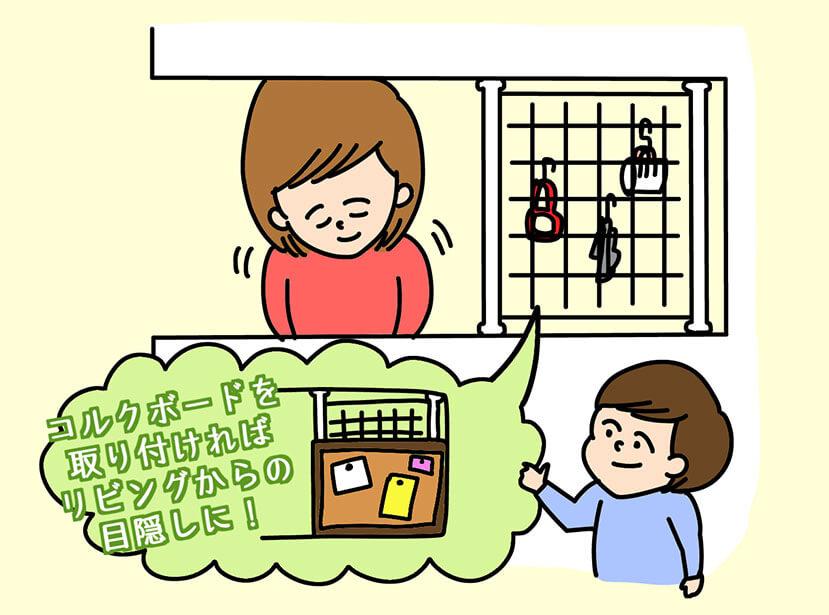対面式キッチンの収納アイディアのイラスト
