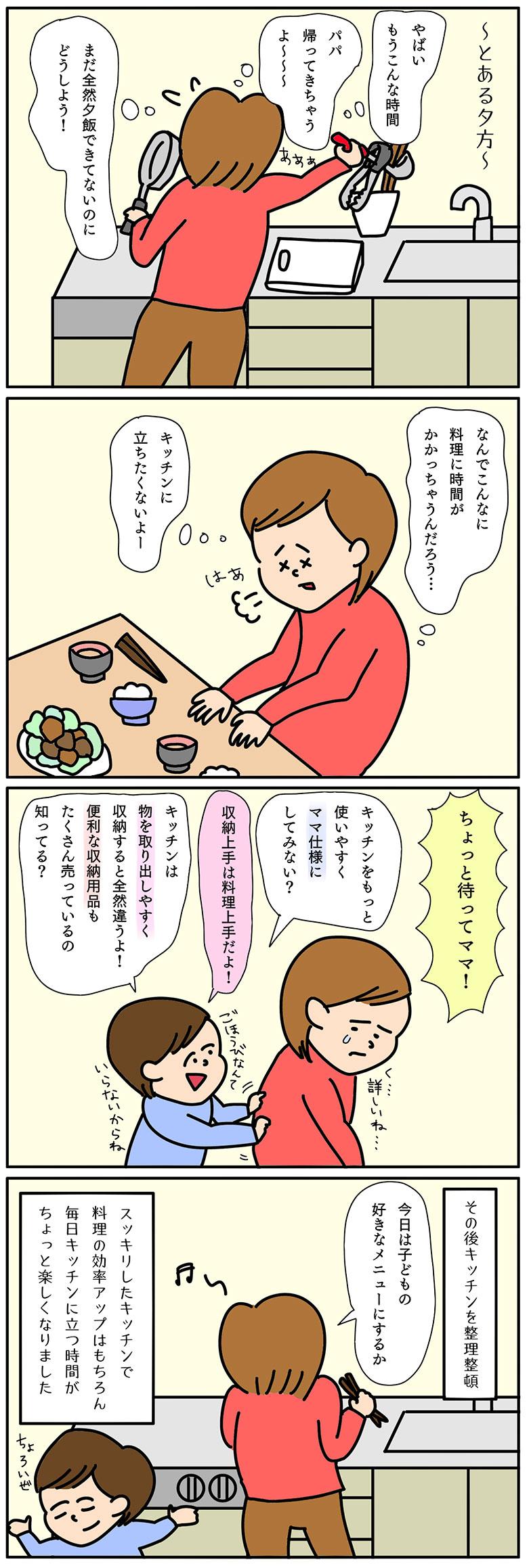 キッチン用品収納の4コマ漫画