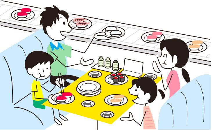 外食する家族のイラスト