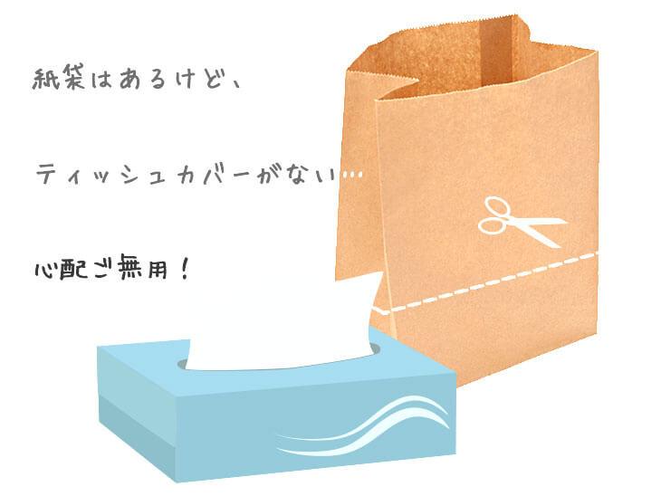ティッシュと紙袋のイラスト