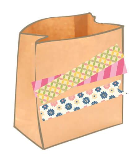 マスキングテープと紙袋のイラスト