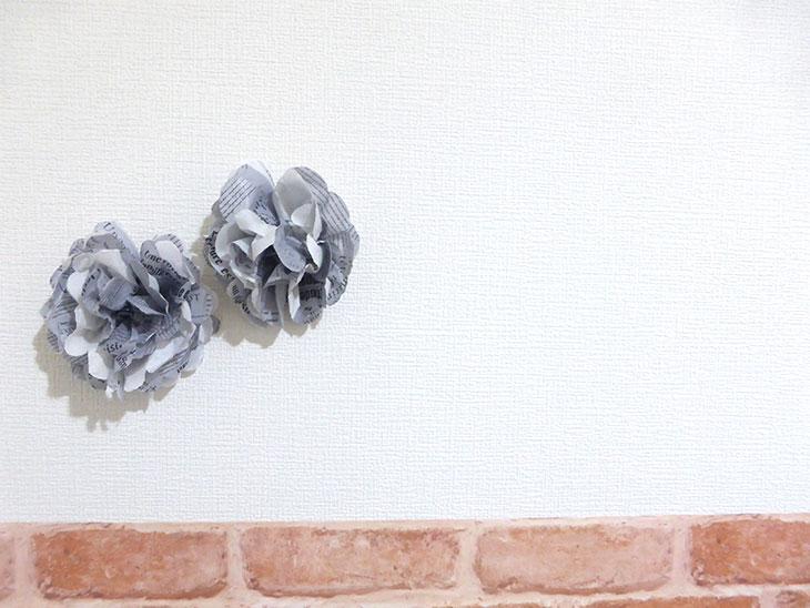 完成した花飾りで飾った自宅フォトスタジオ