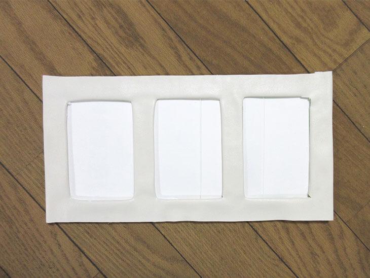 完成した3連の牛乳パック写真立て