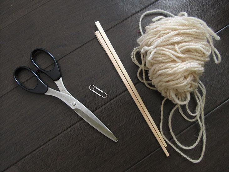 大きなシャボン玉枠作りに使う材料と道具