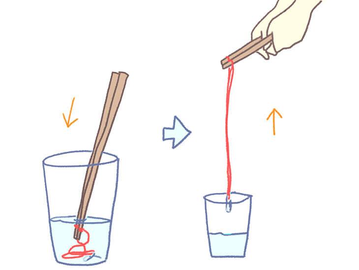 大きなシャボン玉枠へのシャボン玉液のつけ方の図解