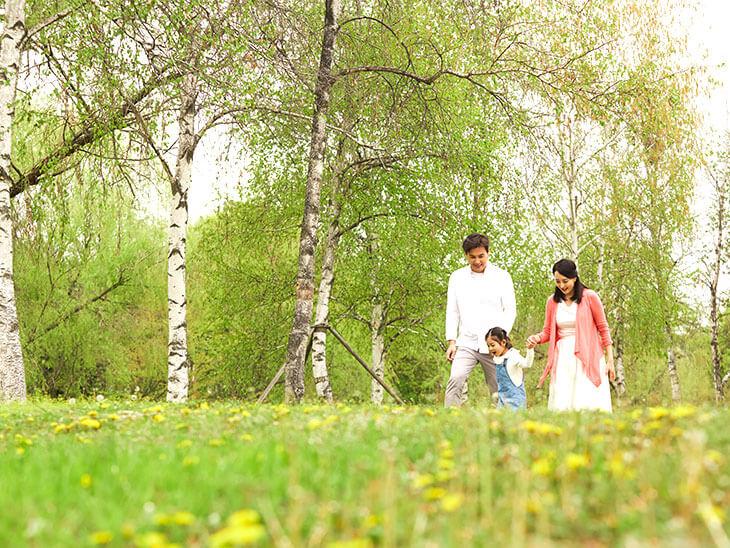公園で歩く3人家族