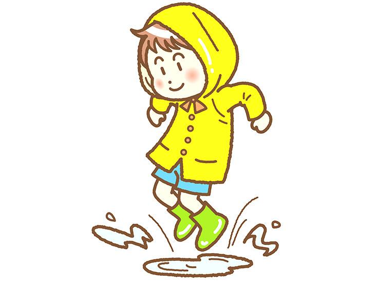 水たまりで遊ぶ幼児のイラスト