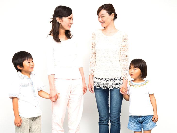仲良しのママ友とその子供達