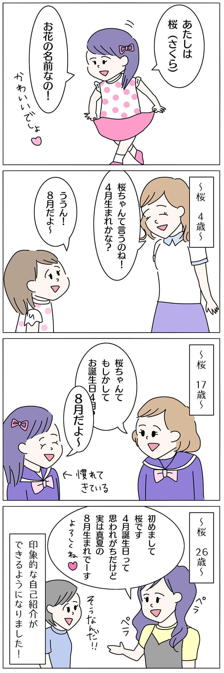 桜を名前につけた子育て4コマ漫画